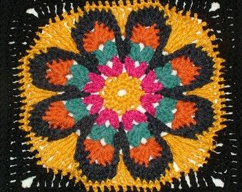 Granny Square Crochet Pattern, Big Crochet Flower Afghan Rug Blanket Throw Instant PDF Digital Pattern download