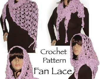 Crochet Lace Pattern for Scarf Shawl Wrap Instant Digital PDF download