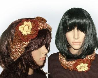 Headband Ear warmers Cowl OOAK Crochet in Autumn shades with crochet flower & ruffles