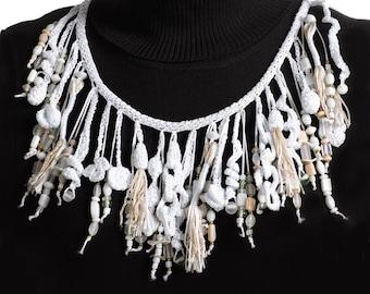 Crochet Necklace, Tassel Lariat Necklace White OOAK Wedding neckpiece Freeform Crochet Wearable Art