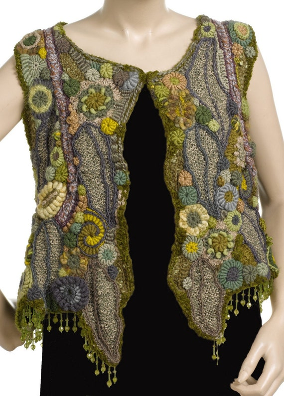 Green Womens Vest OOAK Freeform Crochet Wearable Art, Crystal Grove