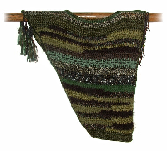 Womens Sleeveless Top Crochet Vest in Moss Green & Chocolate Brown OOAK