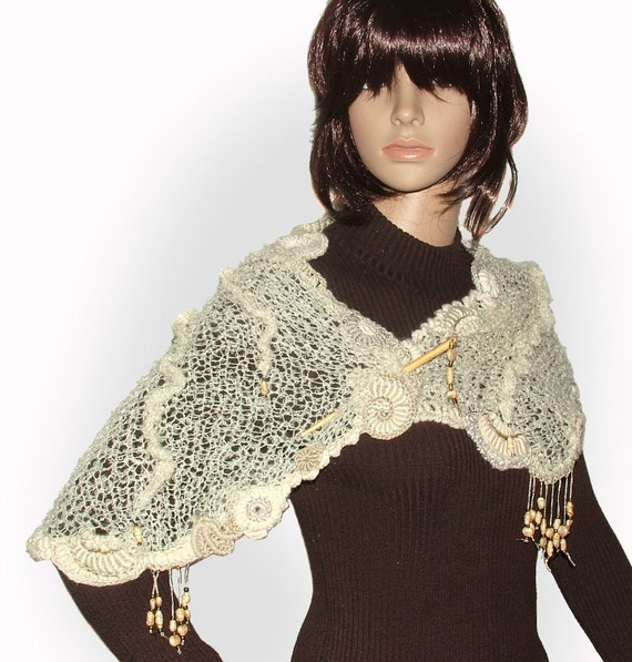 Womens Cream OOAK freestyle knitted scarf, wrap shawl with freeform crochet motifs