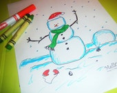 MELLOHEADS --- HOLIDAY COLORING PAGES --- Let it snow man --- Print your own Downloadable PDF File