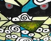 Owl Eats Mice Painting