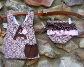 Personalized Pink and Brown Damask Pinafore and Ruffle Bottoms