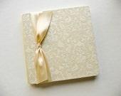 S a l e      Wedding Guestbook - damask print Ivory ribbon