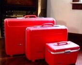 Vintage Pink Suitcases Train Case - Retro Starflite Luggage Set