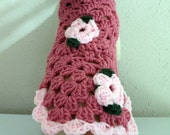 Small Dog Sweater with Pink Florettes