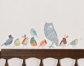 Fabric Wall Decal - Twitters Earthy (reusable) NO PVC