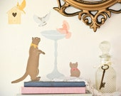 SALE Wall Decals Mini Kitty and Birds (Reusable and removable fabric stickers, not vinyl) - MINI Here Birdy stickers