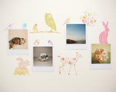 Mini Fabric Wall Decal - Forest Critters girly (reusable) NO PVC