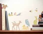 Mini Fabric Wall Decal - Forest Critters earthy colours (reusable) NO PVC