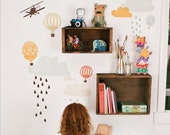 Fabric Wall Decal - Up Up and Away (reusable) NO PVC