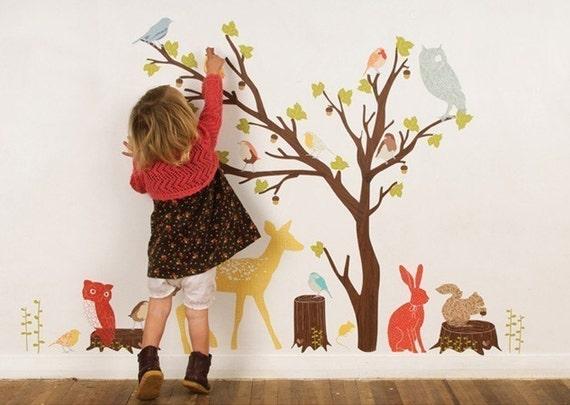 ON SALE Fabric Wall Decal - Woodland Scene Retro (reusable) No PVC