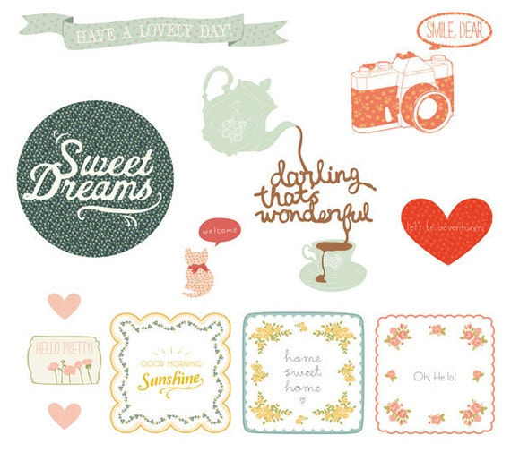 ON SALE Wall Decals Vintage (Reusable and removable fabric stickers, not vinyl) - Sweet Nothings