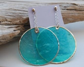 Turquoise Stained Glass Earrings- Donate to Cystic Fibrosis