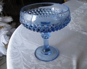 Vintage Blue Glass Diamond Point Pattern Pedestal Candy Bowl/Fruit Compote