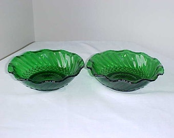 2 Vintage Anchor Hocking Forest Green Scalloped 6.5 Inch Bowls