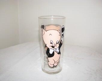 Vintage Pepsi Collector Series Glass 1973 Porky Pig