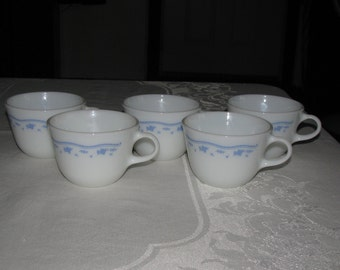 Five Pyrex Cups in The Morning Blue Pattern