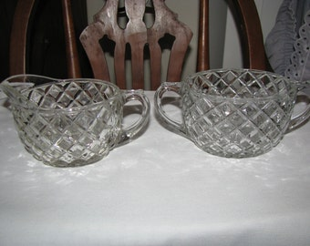 Vintage Clear Glass Oblong Cream And Sugar Set Diamond Like Pattern