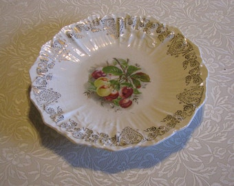 "Reserved for mmagruder1 -Gorgeous Antique 10 3/4"" Plate Cherries With Gold Accents"