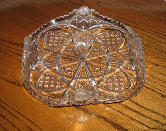 Vintage Antique Glass Square Dish Plate Antique Crystal