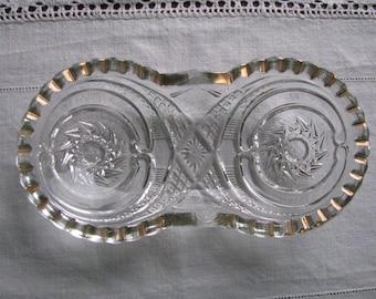 Vintage EAPG Gold Trim Sawtooth Edge Relish Dish Pinwheel Pattern