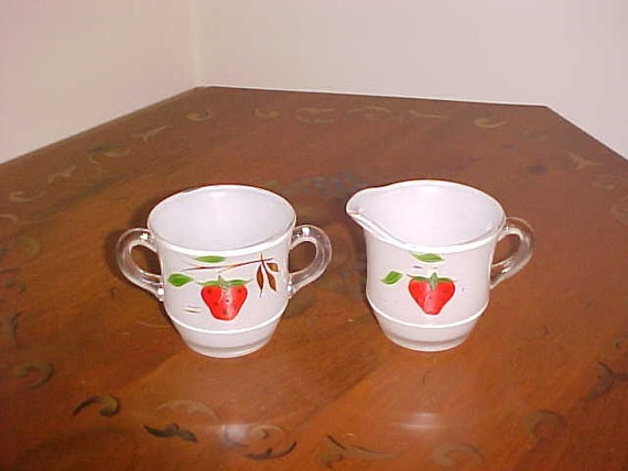 Reserved For Ms. B Johnson) Vintage Painted Strawberry Glass Cream and Sugar Set