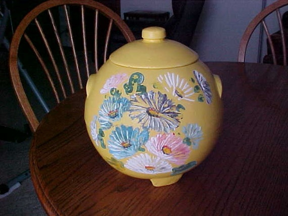 Vintage Round Ransburg Yellow Floral Pottery By Vintagedoodads