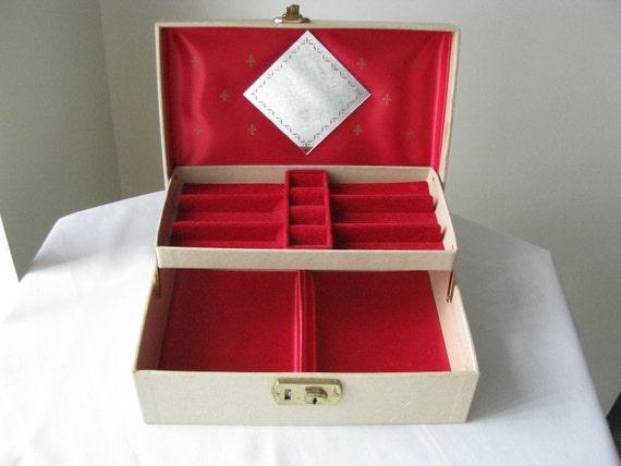 Vintage Jewelry Box Red Satin And Velvet With Mirror Treasury Item