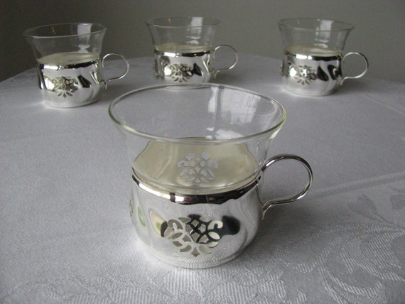 4 Vintage Jena Glas Schott Mainz Cups With Holders