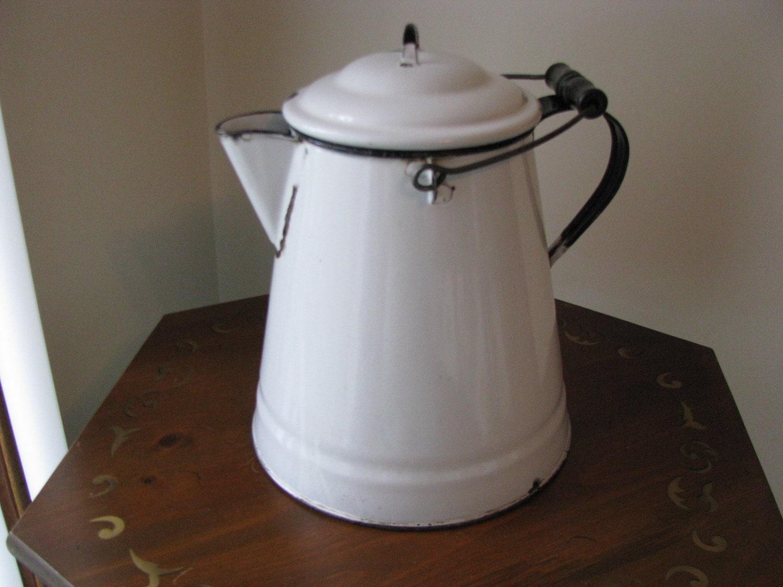 Large Vintage White Enamelware Coffee Pot Tea By