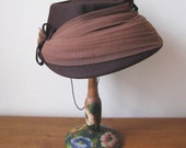 Vintage 1960's Chocolate Brown Felt Bucket Hat with Mocha Tulle