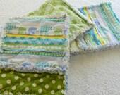 Baby Boy Burp Cloths - Blue & Green Elephant Rag Style - set of 3