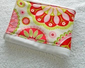 Girl Burp Cloth - Bright Green, White & Pink Paisley and Flowers