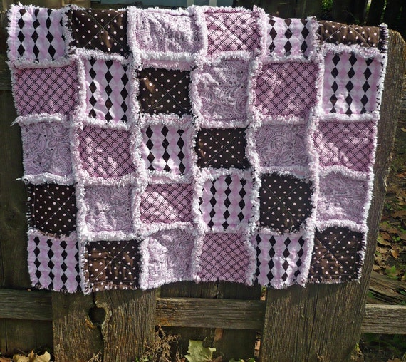 Baby Rag Quilt Pink Brown And White