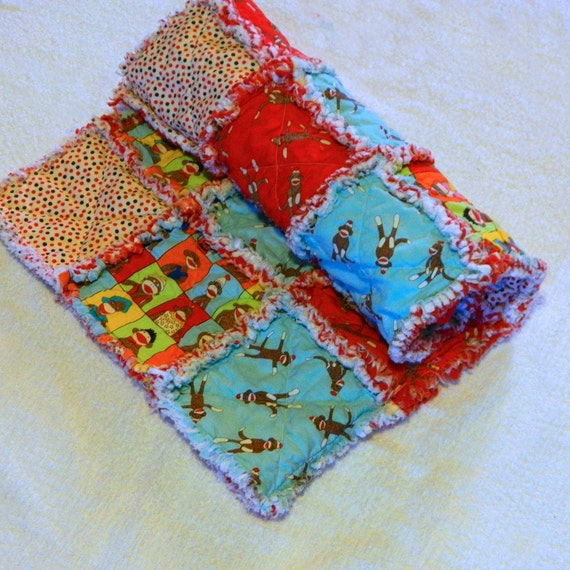 Sock Monkey Baby Rag Quilt - Blue, Red, Brown and Yellow