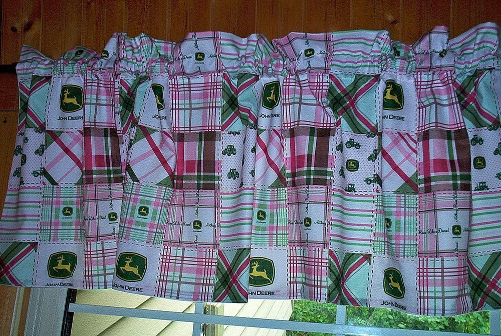 Reserved John Deere Pink And Green Valance By Sewingdreamsnotions