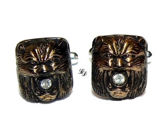 "Cufflinks - Sterling Silver - Antique glass ""Roarr"" - by Lissie Design - rockabilly - gothic - stylish - for him"