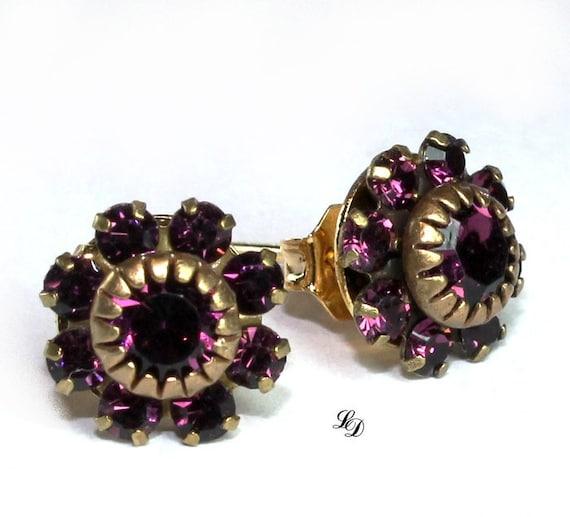 """Purple Swarovski earrings in vintage style """"Jewels in my ears"""""""