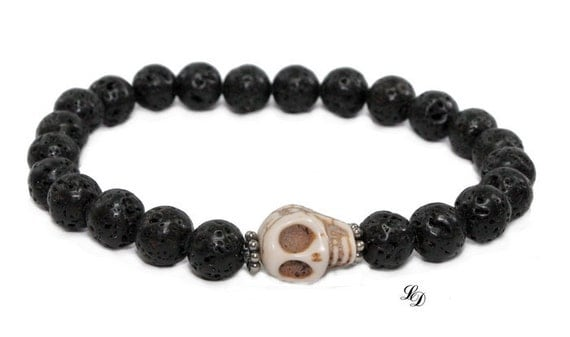 Mens skull sterling lava bracelet - stretch,sterling silver,stacking,gothic,high fashion,stacking, gift,rustic,stylish,man -  Free shipping