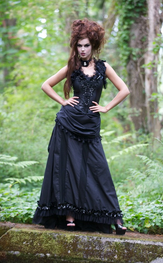 Gothic Goth Vampire Full Length Halloween Costume Dress With