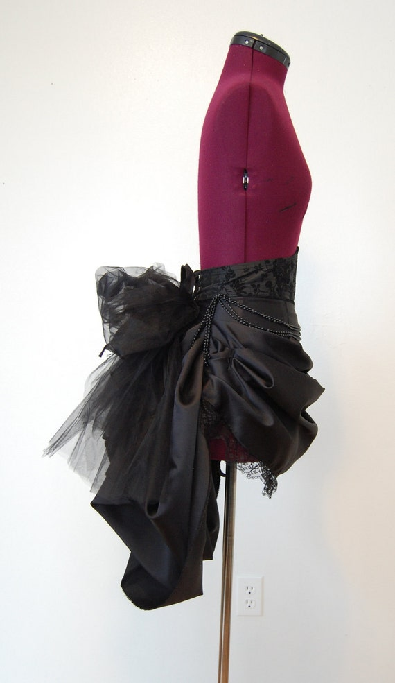Victorian steampunk gothic black satin and tulle bustle.