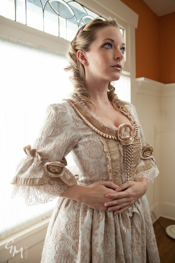 Lovely Marie Antoinette fawn and cream steampunk rococo Victorian dress