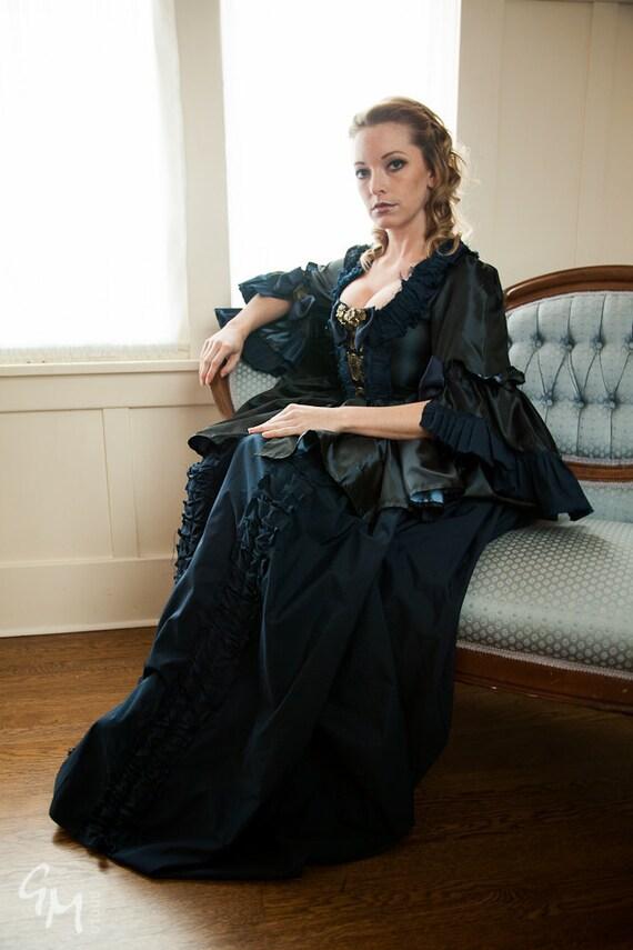 Marie Antoinette dark blue steampunk rococo victorian dress