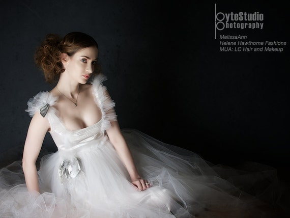 Beautiful tulle and white satin hand stained wedding dress Modern fairy