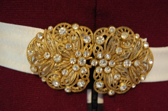 Gorgeous Vintage clasp/ belt buckle up-cycled on satin belt
