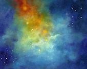 Starlight, Night Sky Moon and Stars Skyscape Original Oil Painting, by Marina Petro